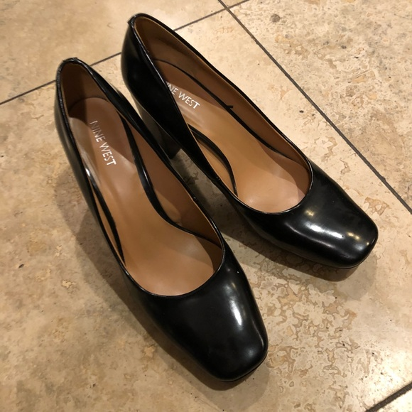c29e3a4fb2 Nine West Shoes | Black Leather Square Toe Block Heels | Poshmark
